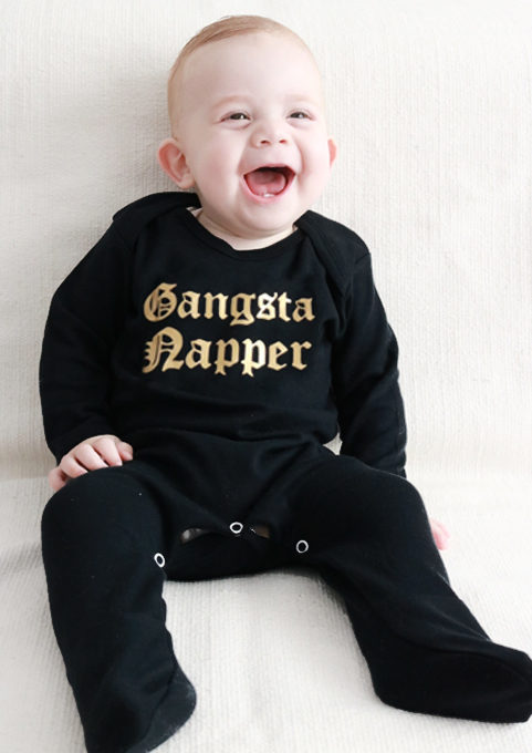Gangsta Napper Cool Baby Sleepsuit - Black Gold Baby All In One