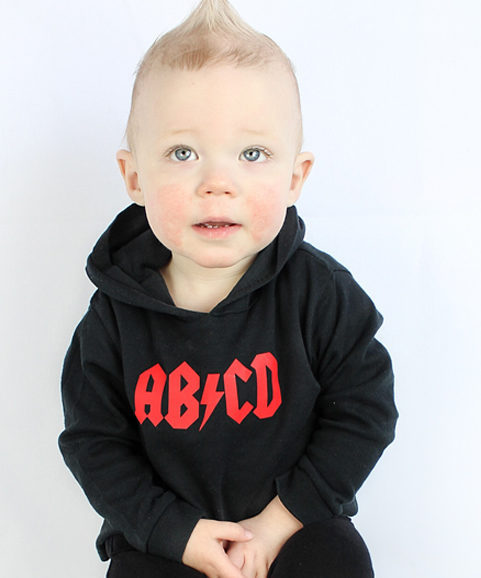 Rock Kids Clothes ACDC Boys or Girls Hooded Top