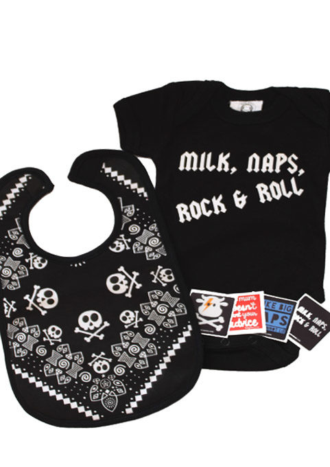 Rock roll baby gift set rock baby shower outfit gift for Rock n roll baby crib set