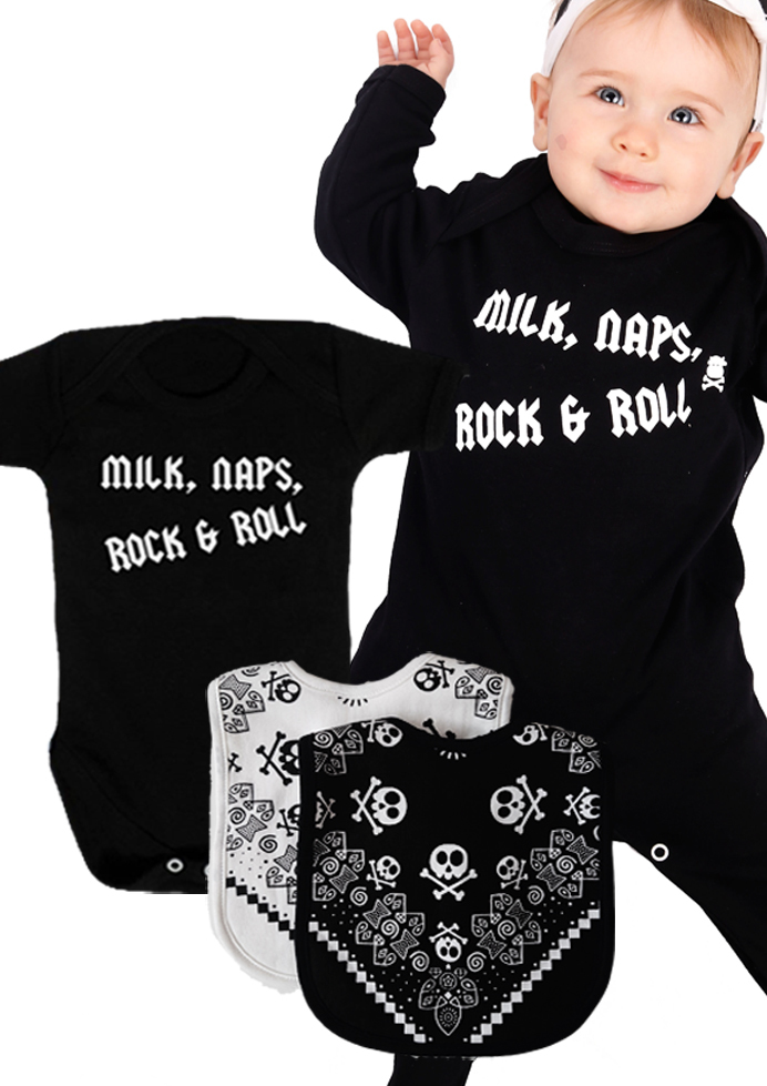 rock star baby gift box unique rock n roll baby gift set baby moo 39 s. Black Bedroom Furniture Sets. Home Design Ideas
