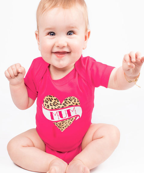 Rockabilly Baby Grow, Pink Girls Tattoo Baby Vest