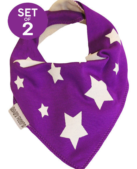 Trendy Bandana Bibs Purple Boys or Girls Dribble Bib Set