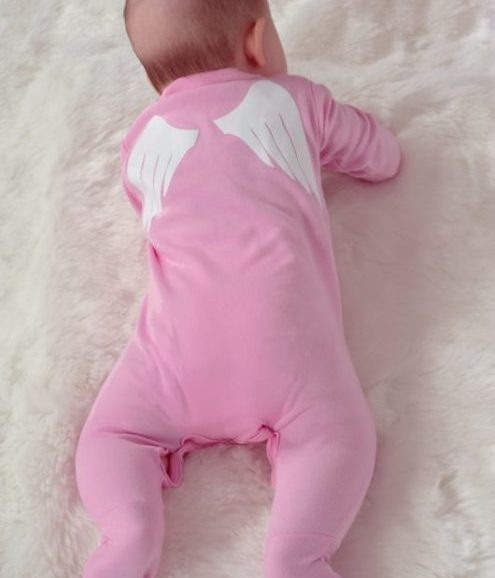 Angel Wings Baby Sleepsuit, Pink baby sleepsuit with adorable white novelty angel wings printed to back