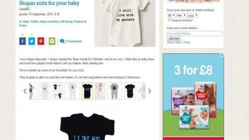 Baby Centre Slogan Baby Bodysuits Feature