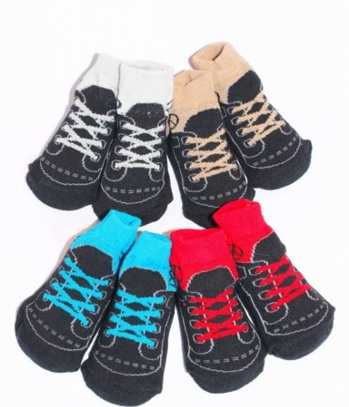 Baby Gift Socks, Red baby trainer socks, blue baby shoe socks, grey baby gift socks, or beige.