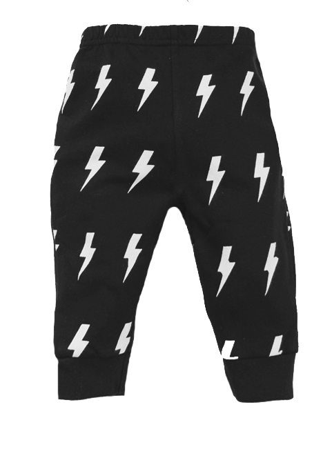 Funky baby trousers, black lightning bolt toddler trousers with epic flash bolt print