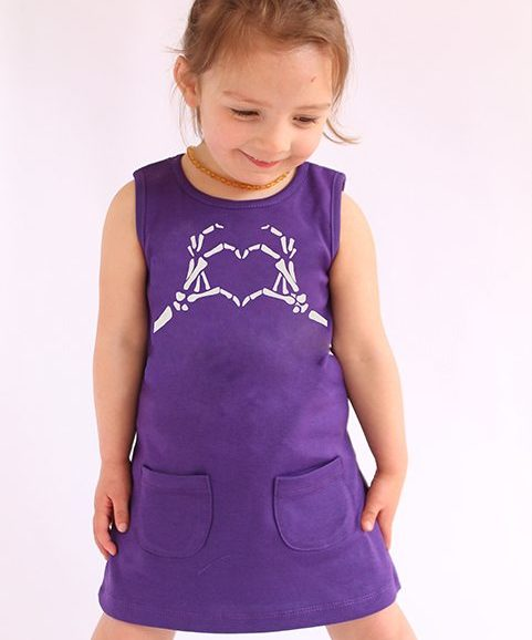 Cool girls dress, purple girls play dress with skeleton love print