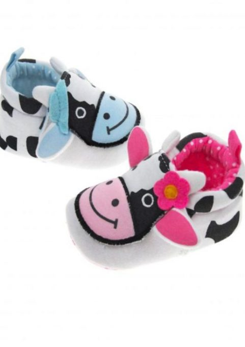 Cow Baby Shoes, Funky Baby Footwear with adorable cow face to front, pink or blue