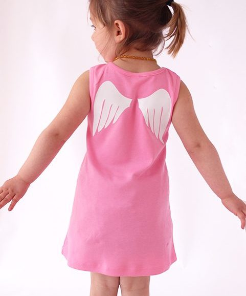 Cute Baby Dresses, A Line Pink Girls Dress with Angel wings print
