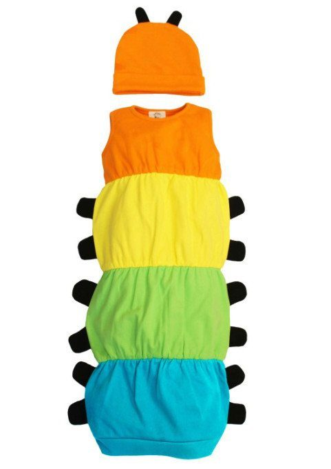 Caterpillar baby clothes, caterpillar baby outfit with hat & antenna features.