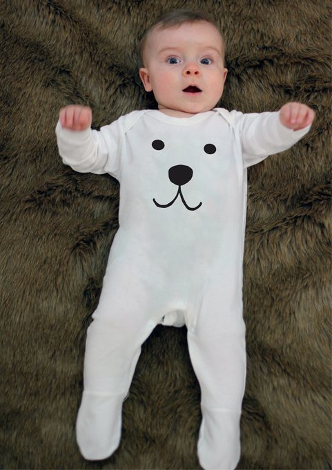 Adorable baby sleepsuit white cotton sleepsuit with cutest polar bear face print to front