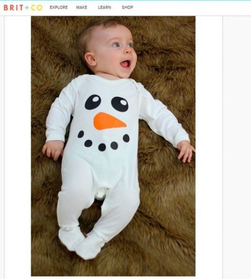 Cute Snowman Baby Sleepsuit Featured By Brit.co