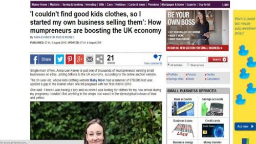 Anna-lee Kewley Baby Moo's Clothing Founder - Daily Mail Feature