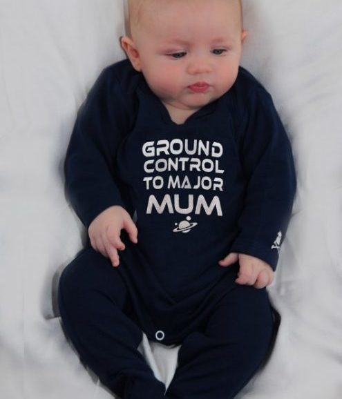 David Bowie baby sleepsuit, navy baby outfit with silver space oddity slogan