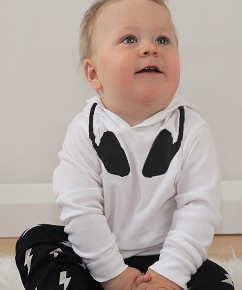 Dj Baby Clothes, Black & White Cool Kids Hoodie with DJ neck print