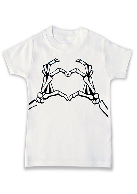 Baby & kids T-shirt in black & white with trendy & cool skeleton live hands print