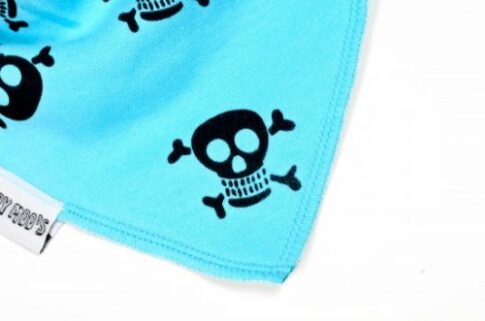 Skull & crossbones funky bright blue bandana bib, black pirate print