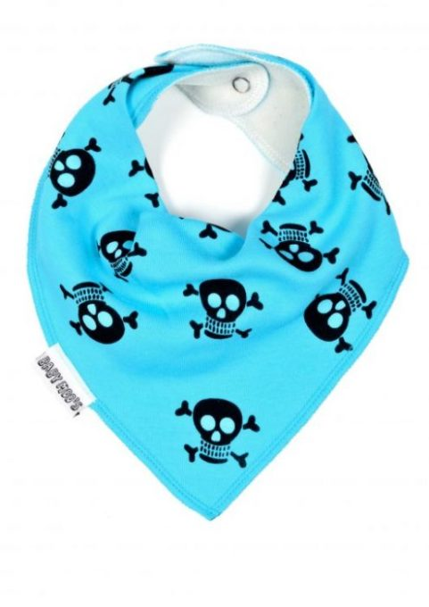 Cute Bandana Bibs, Funky Bright Blue Bandana Bib - Alternative skull & crossbones pirate style print.