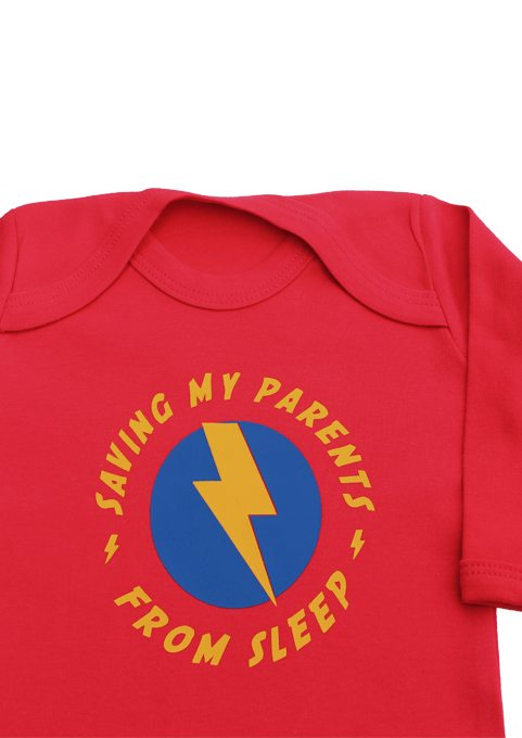 Superhero Baby Sleepsuit in funky red with funny superhero slogan that reads Saving My Parents From Sleep