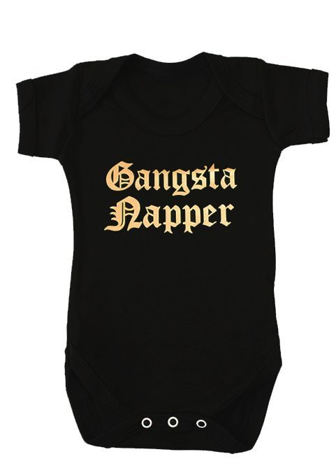 Gangsta Baby Grow, Black stylish baby grow with funny Gangster Rap Slogan