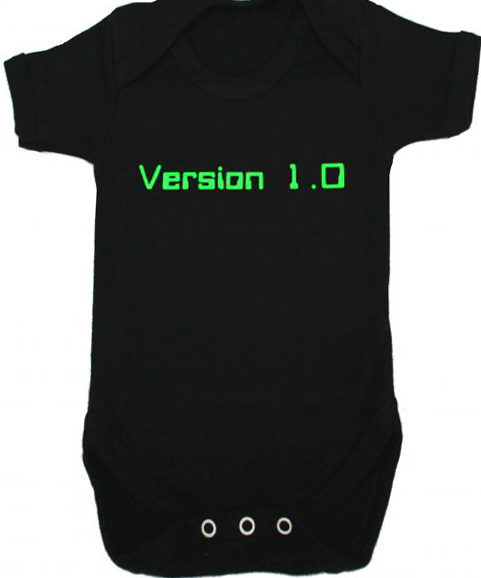 Geek Baby Grow, Black Baby Vest with awesome nerdy geek version 1.0 print in green