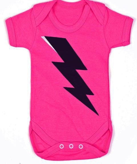 Girls superhero baby clothes, Bright pink baby grow with superhero lightning print