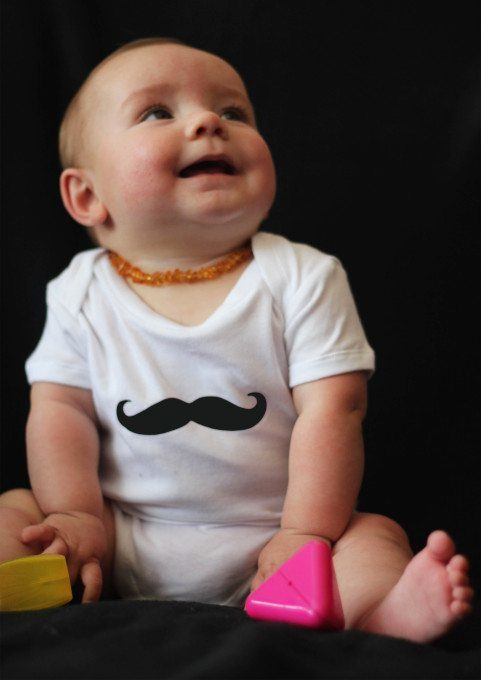 White Short Sleeved Quirky Baby Grow with Moustache Print