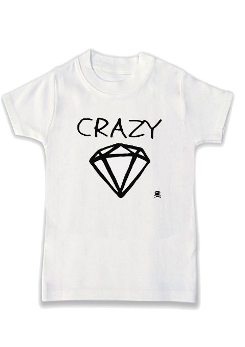 Pink Flod inspired monochrome kids t-shirt, Crazy Diamond Slogan Print