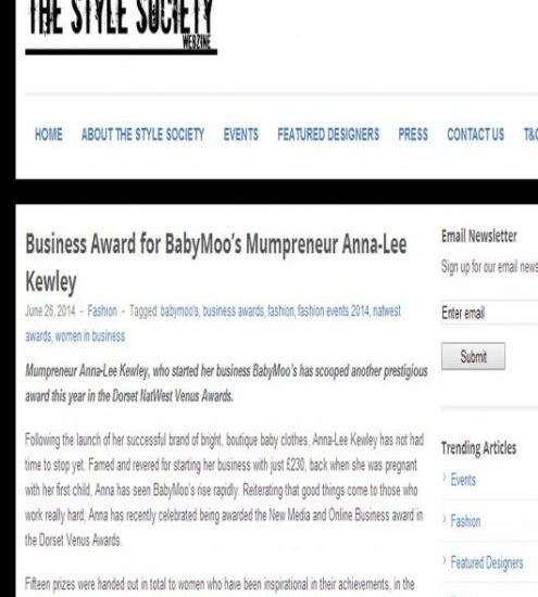 Award winning cool baby clothes feature, Bournemouth Entrepreneur, Style Society Feature