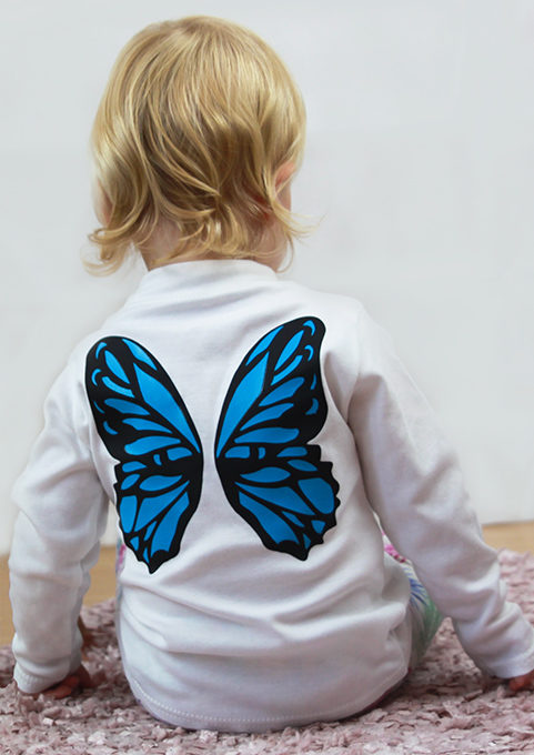 Pretty Girls T-Shirt, Girls Cute Top with butterfly wings to back