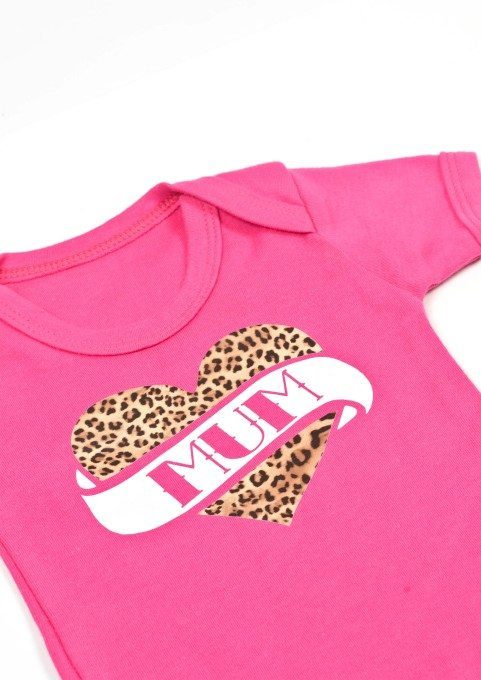 Rockabilly baby grow, bright pink baby vest with tattoo style mum print to chest