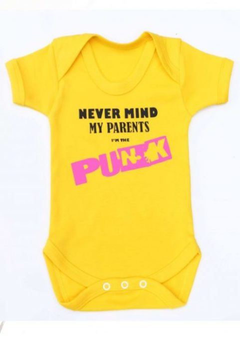 Sex Pistols Baby Grow, Vibrant Bright Yellow Baby Vest with Sex Pistols Inspired Nevermind my parents I'm the punk print to chest, short sleeved baby bodysuit