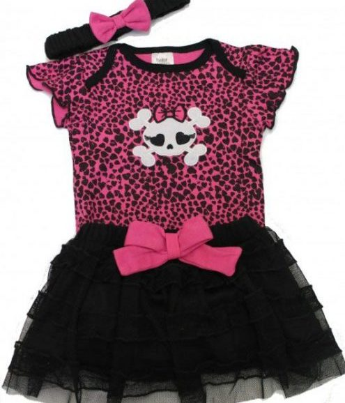 Punk Baby Outfit, Pink Skull Baby Girls Grow, Black Tutu Skirt & Headband