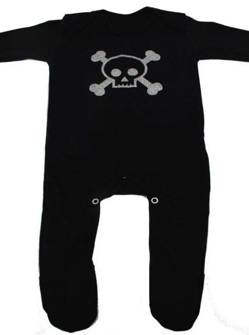skull & crossbones baby sleepsuit, black baby sleepsuit with silver glitter print