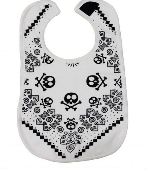 Trendy Baby Bib, Monochrome cool baby bib with cute bandana style rock star print in black, velcro fastening
