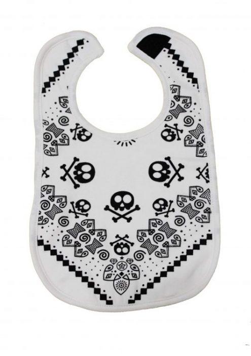 Trendy Baby Bib, Monochrome cool baby bib with cute bandana style rock star print in black, velcro fastening