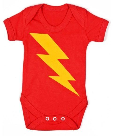 Superhero Flash Baby Grow, Brightly coloured red baby vest with flash bolt print to chest