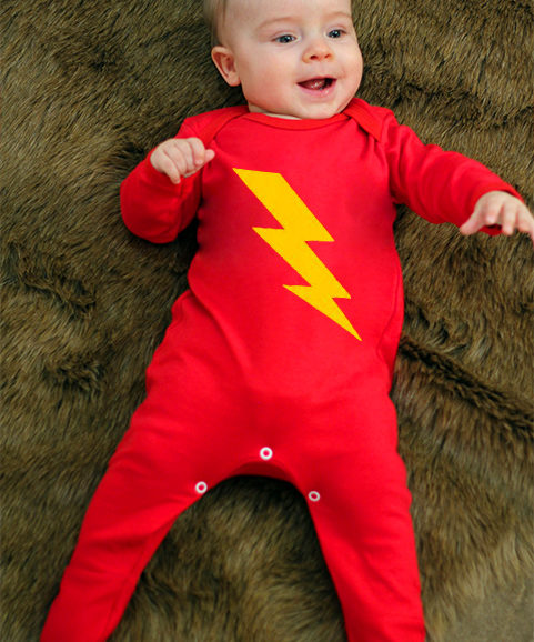 Superhero Baby Sleepsuit, Bright Red Baby Sleepsuit with colourful flash print