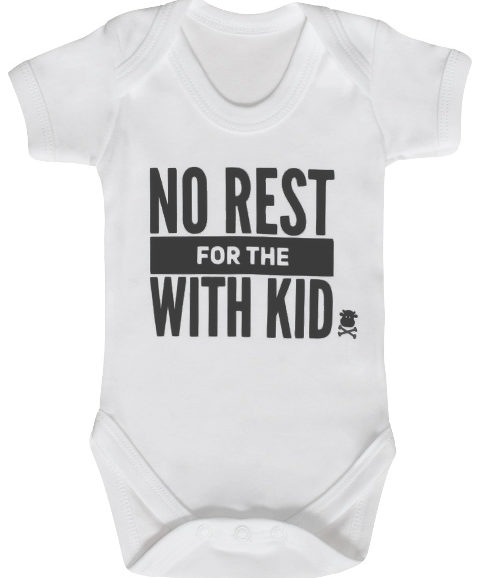 Trendy Baby Grow, Monochrome Typographic Baby Grow