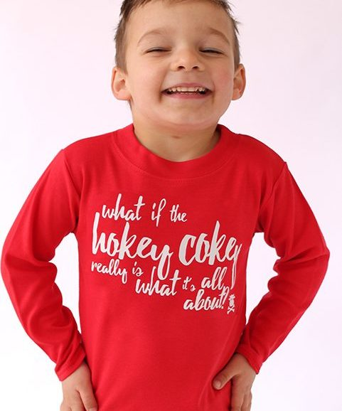 Trendy Kids Top, Long Sleeved Bright Red Kids Top With Hokey Cokey Funny Print